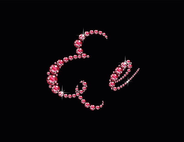 Ee Ruby Script Jeweled Font vector art illustration