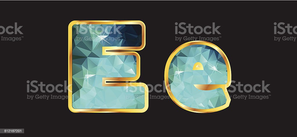 Ee with Gold and Teal vector art illustration