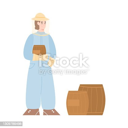 istock eekeeper or hiver next to barrels with honey flat vector illustration isolated. 1309786498