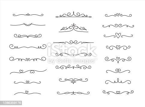 istock Eelegant Hand drawn flower ornament text dividers, arrows Swirls, Scrolls and laurel design elements set 1286359176