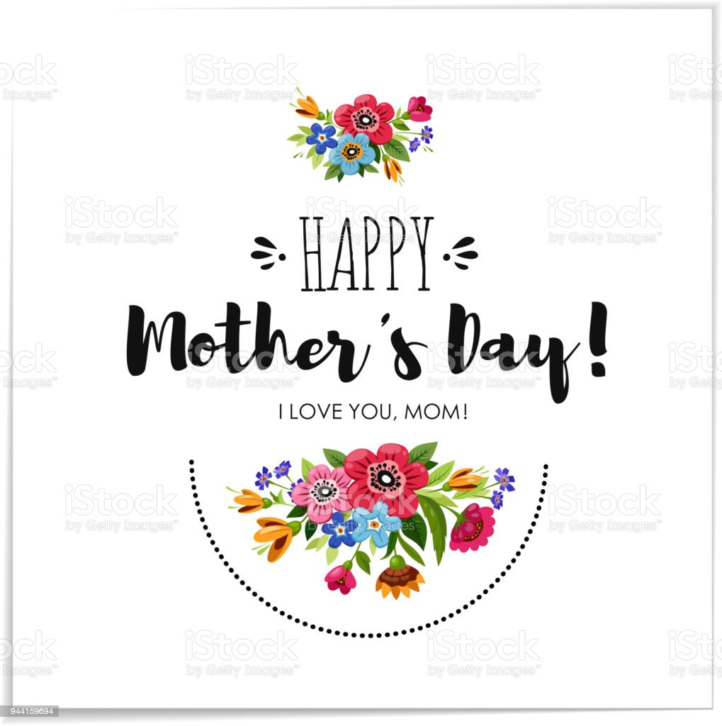 eelgant greeting card with flowers template of happy mothers day