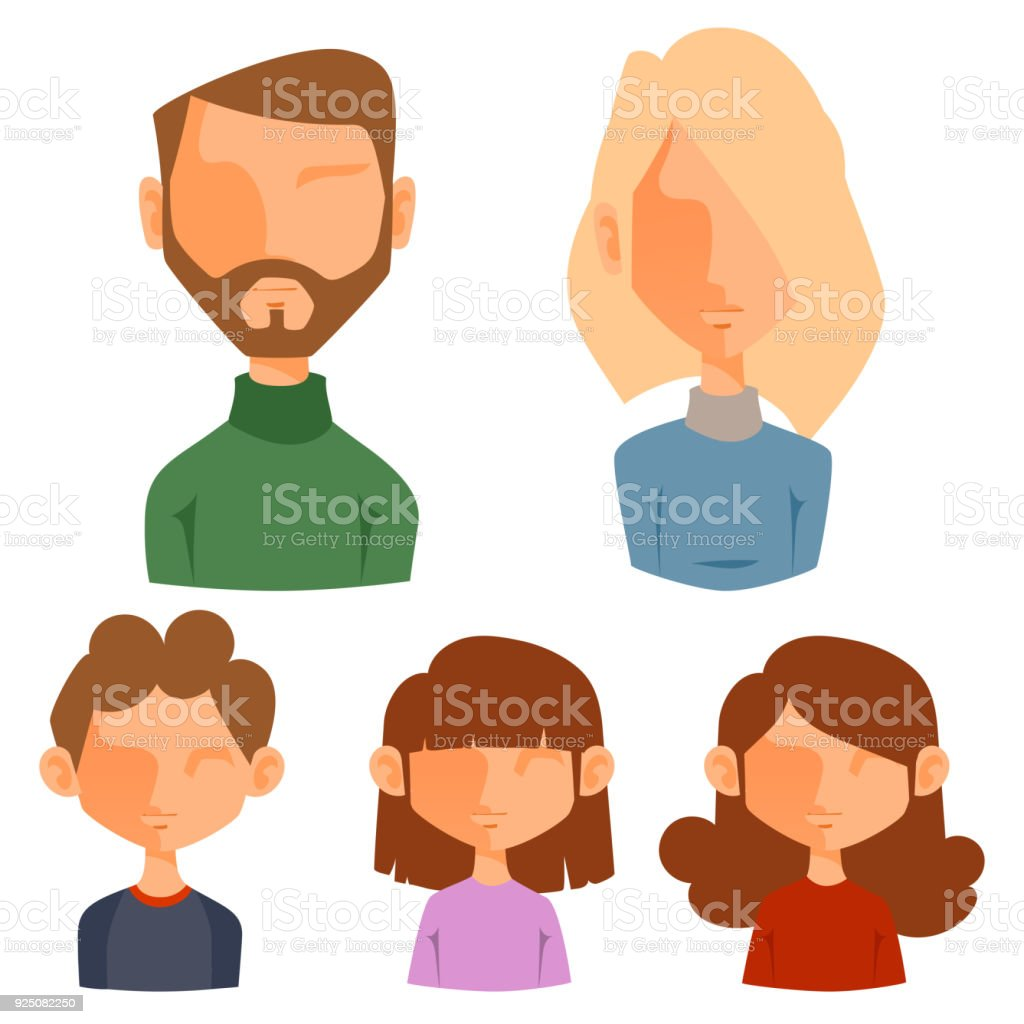Eemotion Vector Family People Faces Cartoon Avatar Illustration