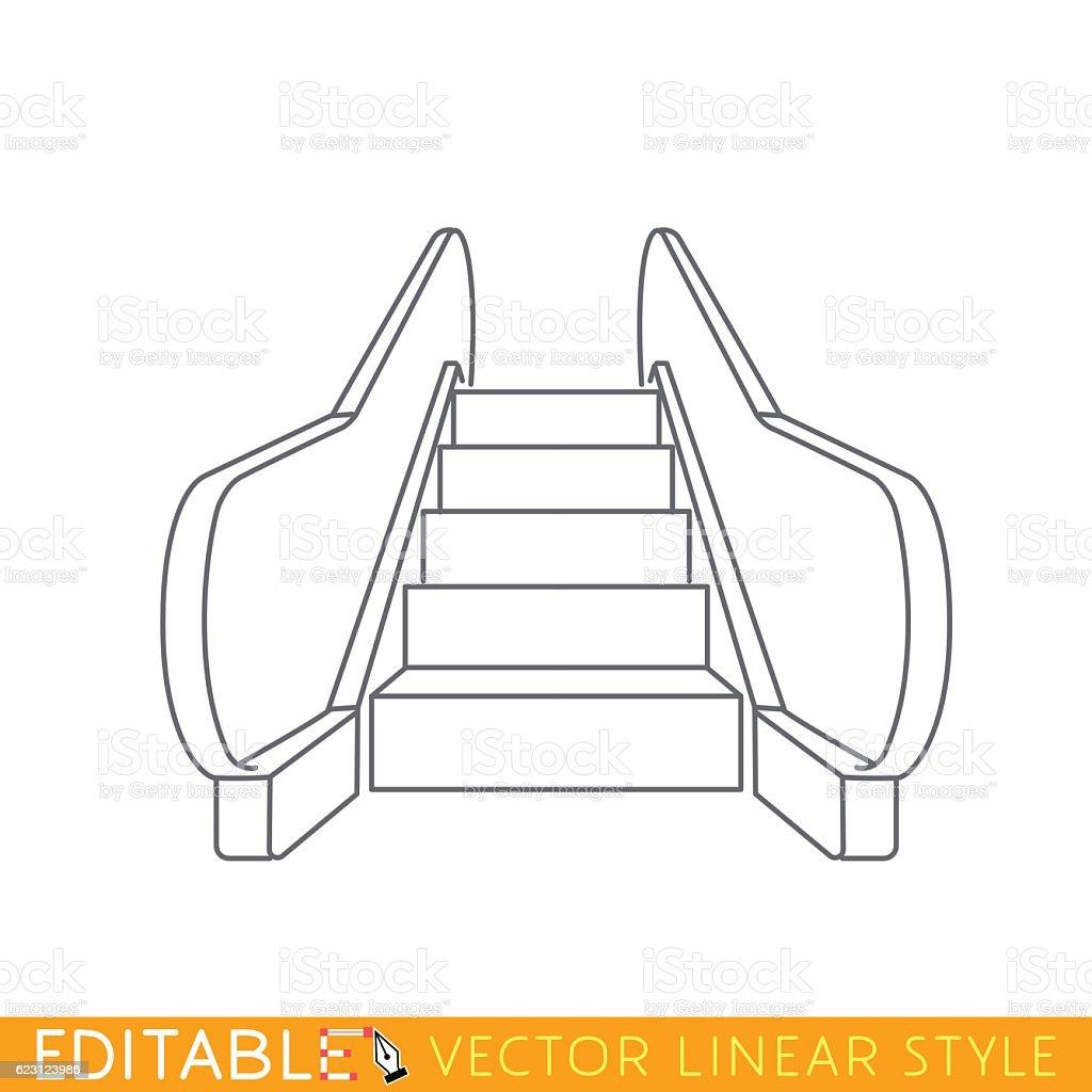 Eescalator elevator. Outline sketch icon. vector art illustration