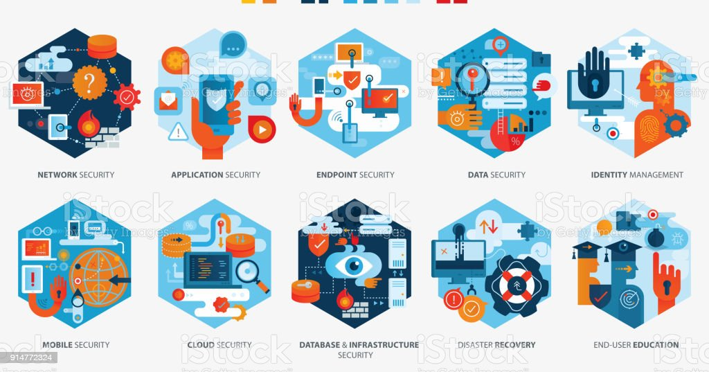 Effektive Cyber Security Icons Horizontal – Vektorgrafik
