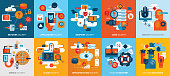 Flat vibrant vector icons set depicting effective information technology security.