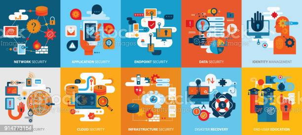 Effective Cyber Security Icons Square Background Horizontal Stock Illustration - Download Image Now
