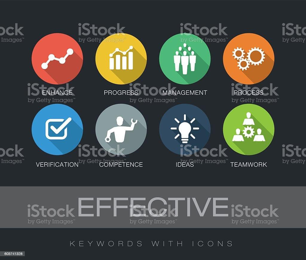 Effective keywords with icons - ilustração de arte em vetor