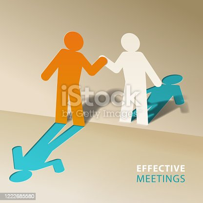 The pop-up paper craft of two people shaking hands for the concept of effective meetings