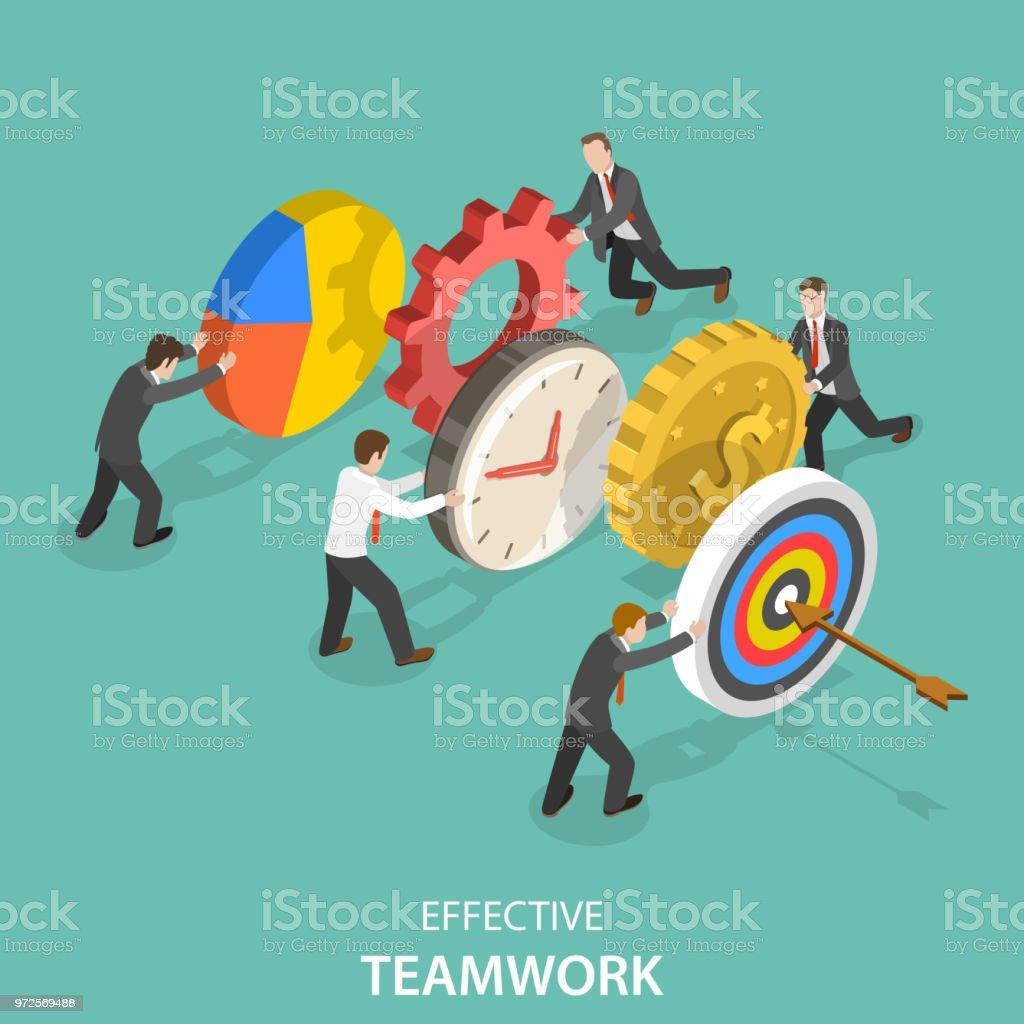 Effektive Teamarbeit flache isometrische Vektor-Konzept. – Vektorgrafik
