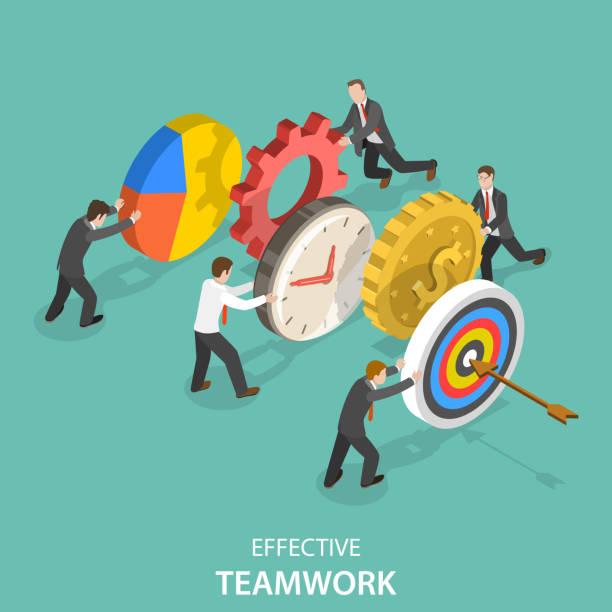 illustrazioni stock, clip art, cartoni animati e icone di tendenza di efficace concetto di vettore isometrico piatto di lavoro di squadra. - efficacia