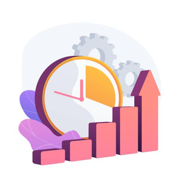 effektive zeitmanagement-vektorkonzept-metapher - storytelling grafiken stock-grafiken, -clipart, -cartoons und -symbole
