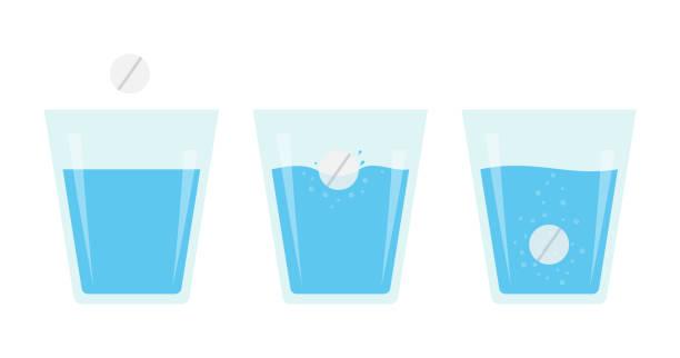 illustrazioni stock, clip art, cartoni animati e icone di tendenza di effervescent pill dissolve in a glass of water. flat vector illustration of fizzy tablet. - dose