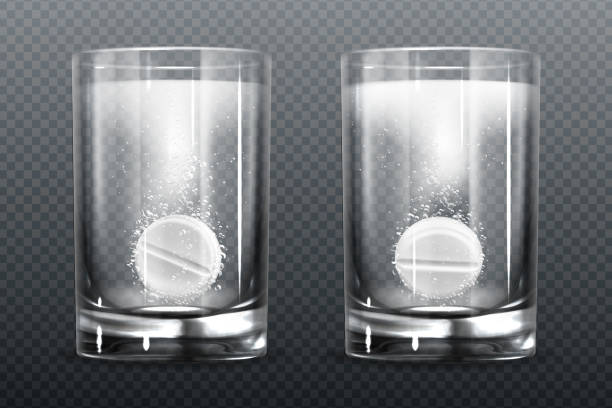 Effervescent pill with fizz bubbles in water glass Effervescent pills with fizz bubbles in water glass. Aspirin tablets, soluble vitamin or headache pharmaceutical remedy capsules, isolated on transparent background. Realistic 3d vector illustration aspirin stock illustrations