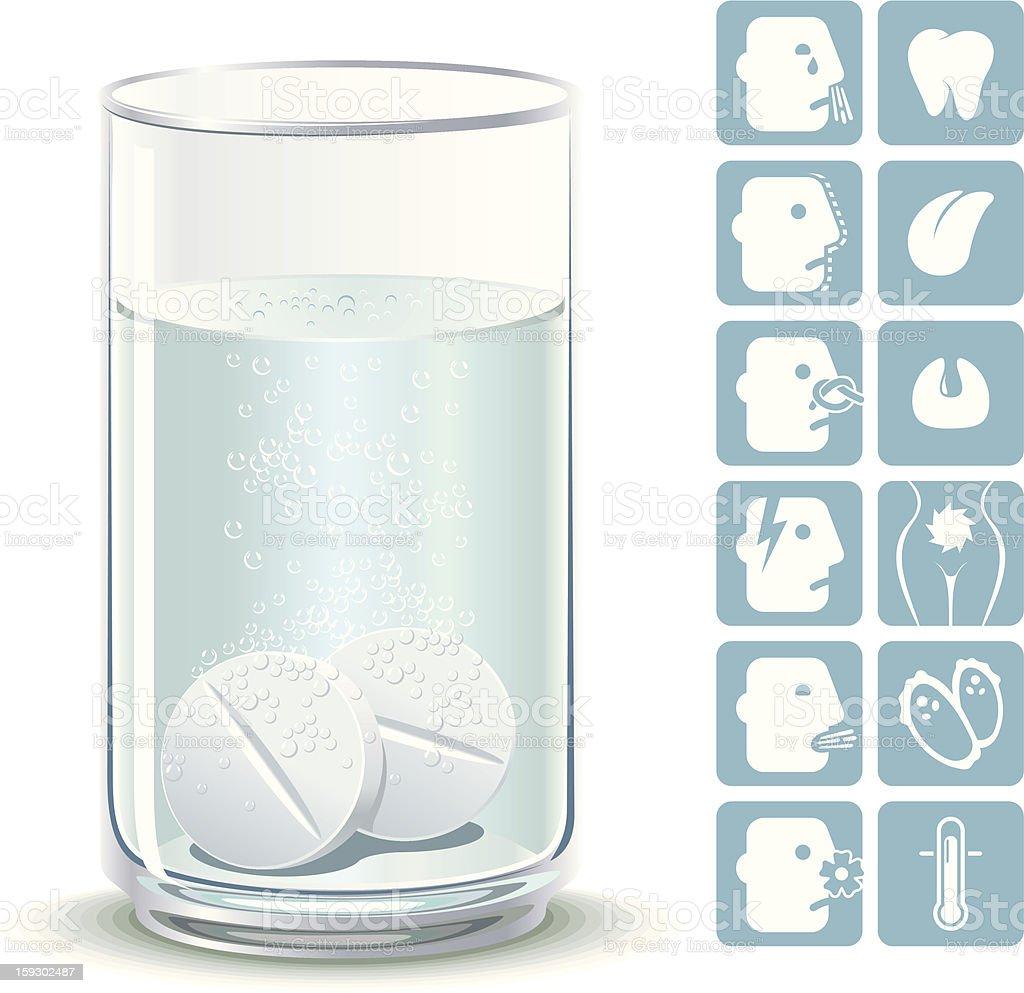 Effervescent tablets vector art illustration