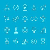Efficiency at Work blueprint outline vector icons kit.