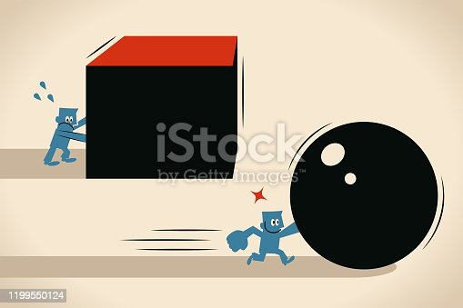 istock Efficiency in busines, businessman pushing a sphere leading the race against another man pushing a cube 1199550124