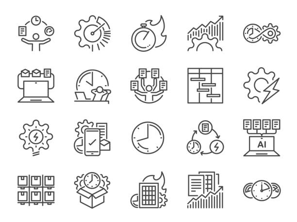 bildbanksillustrationer, clip art samt tecknat material och ikoner med ikonför effektivitetslinje. inkluderade ikonerna som hastighet, organisering, prestanda, produktiv, arbete, tidslinje med mera. - prestation