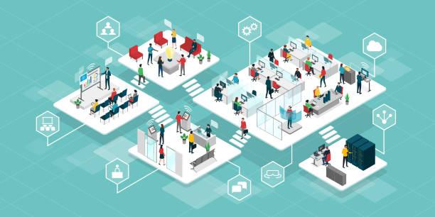 wydajna innowacyjna firma i przedsiębiorcy współpracujący ze sobą - rzut izometryczny stock illustrations