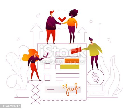 Efficient planning - modern flat design style illustration on white background. Quality composition with business team, male and female colleagues, check list, coins stack. Task management concept