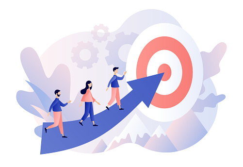 Efforts to achieve target. Tiny people businessmen running towards the goal. Perseverance, Challenge, Career and personal growth. Modern flat cartoon style. Vector illustration on white background