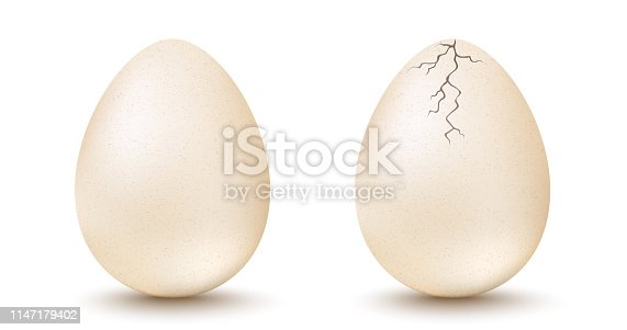 Vector set realistic white eggs. Vector set of white egg and cracked egg on isolated background. 3d eggs.