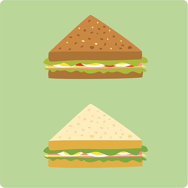 illustrazioni stock, clip art, cartoni animati e icone di tendenza di uova e panini con prosciutto - panino