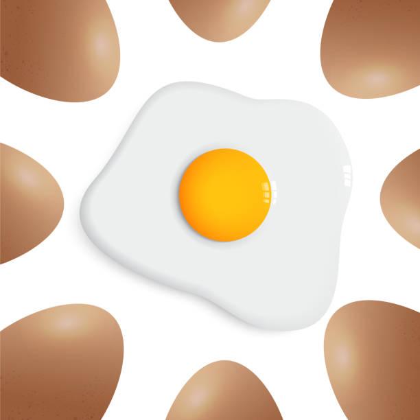 stockillustraties, clipart, cartoons en iconen met ei rond gebakken ei vector op witte achtergrond - fresh start yellow