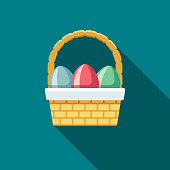 A pastel colored flat design Easter icon with a long side shadow. Color swatches are global so it's easy to edit and change the colors.