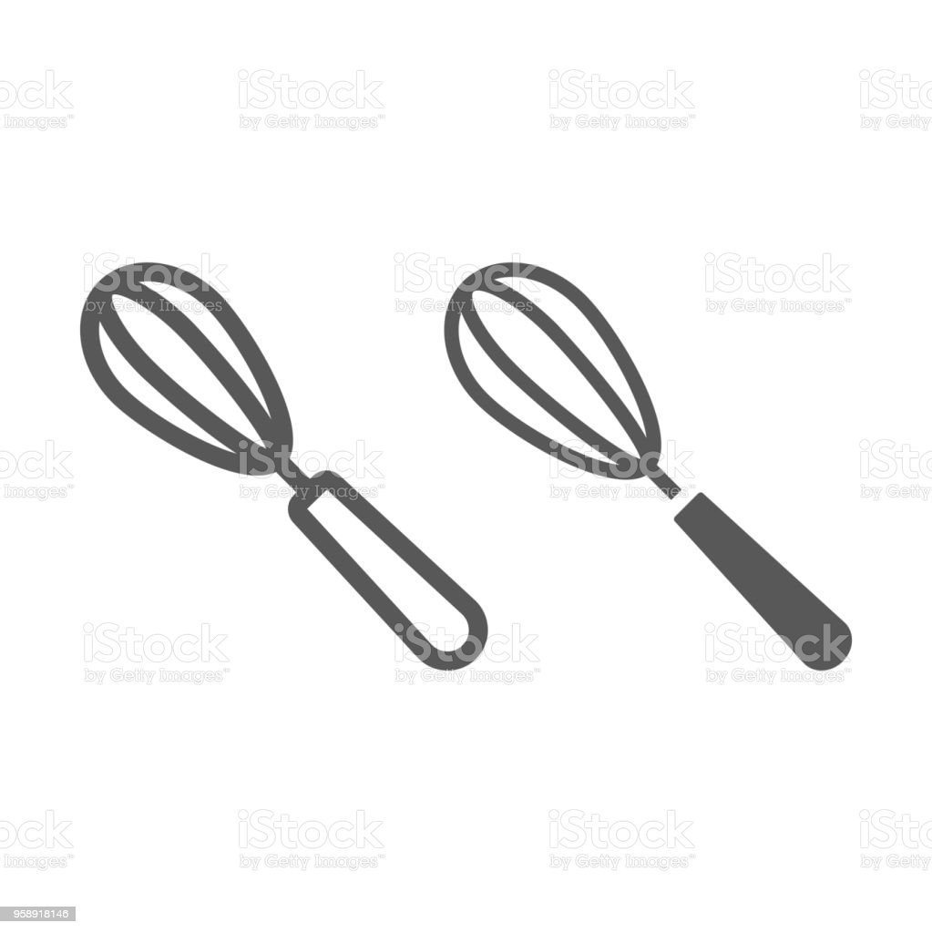 Egg beater line and glyph icon, kitchen and cooking, whisk sign vector graphics, a linear pattern on a white background, eps 10. vector art illustration