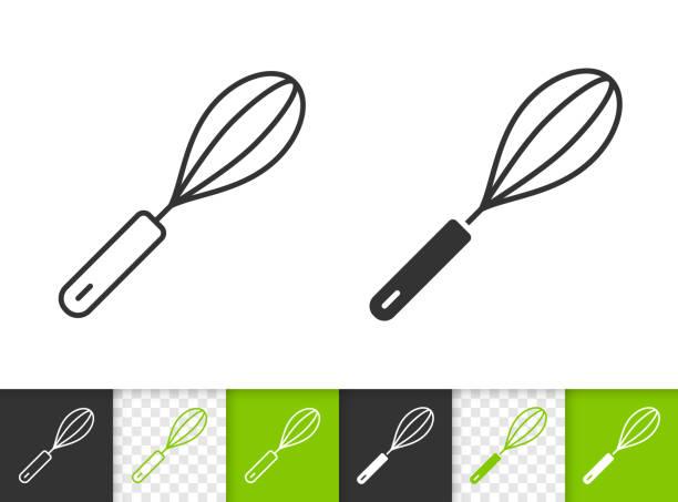 stockillustraties, clipart, cartoons en iconen met ei klopper eenvoudige zwarte lijn vector pictogram - ballonklopper