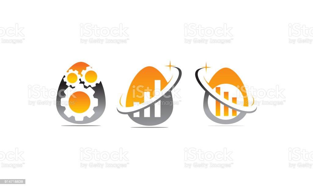 Egg Business Incubator Set vector art illustration