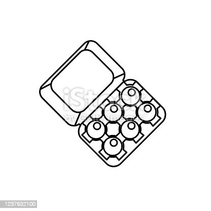 istock Egg Carton Breakfast icon In Thin Line Style 1237632100