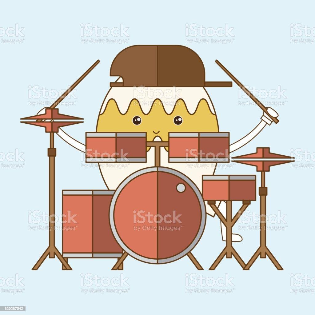 Eicharakter Schlagzeug Zu Spielen Vektorillustration Stock Vektor