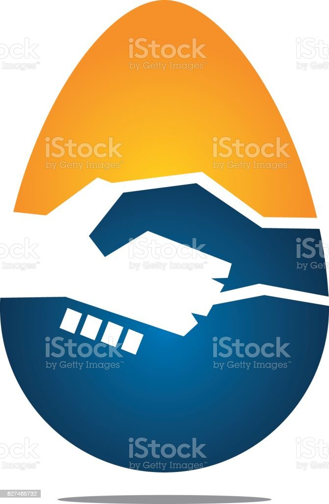 Egg Deal Handshake vector art illustration