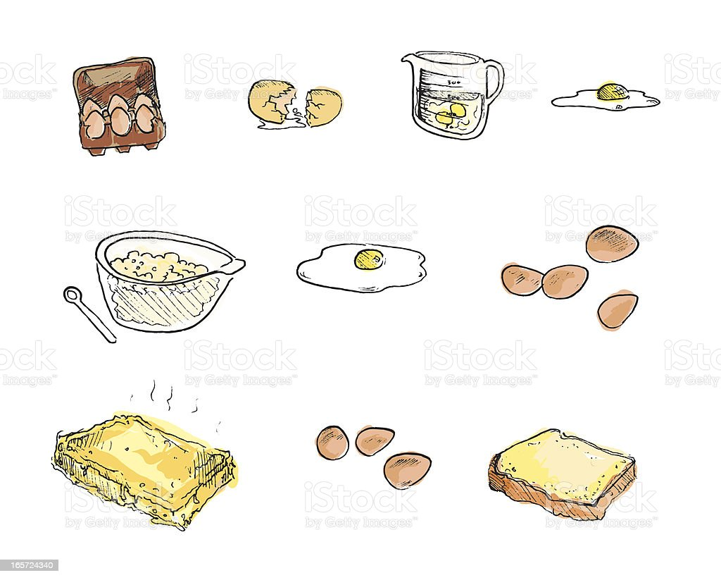 Egg dishes, Hand-drawn sketches royalty-free stock vector art