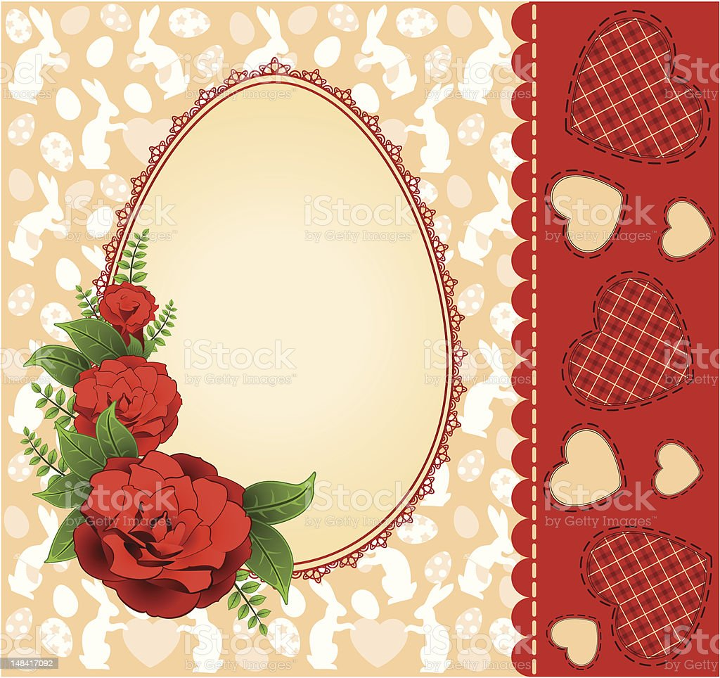 Egg- frame with lace ornaments and flowers. Easter vector royalty-free stock vector art