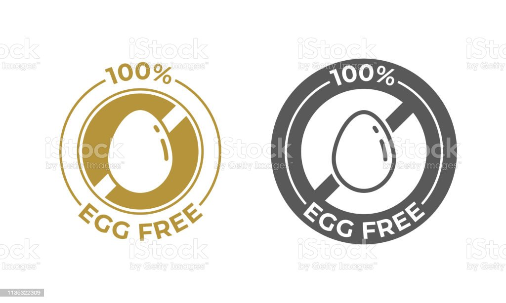 Egg free food vector icon. Food package seal, 100 percent egg free...