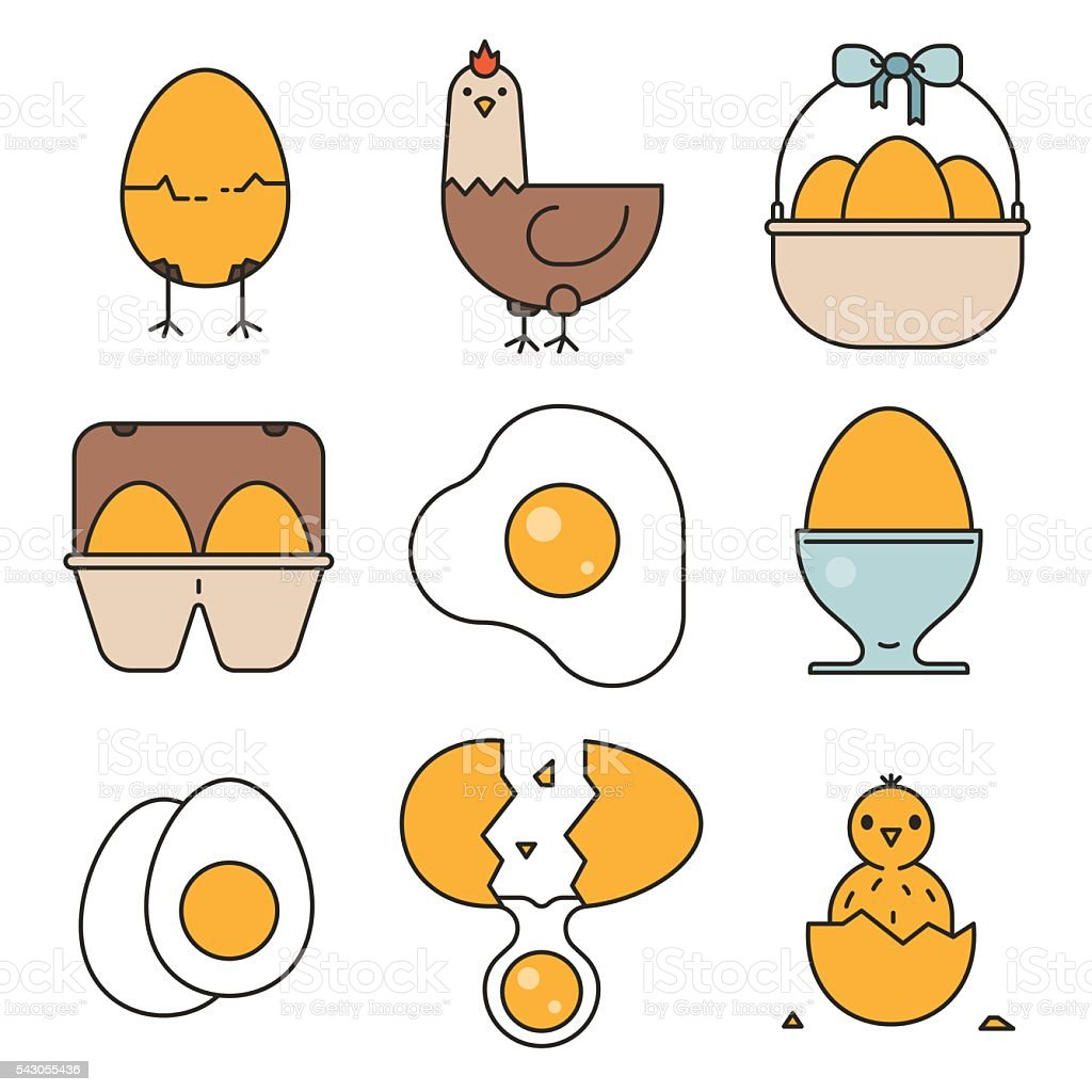 Egg, fried egg, egg box, chicken, chick icons vector art illustration