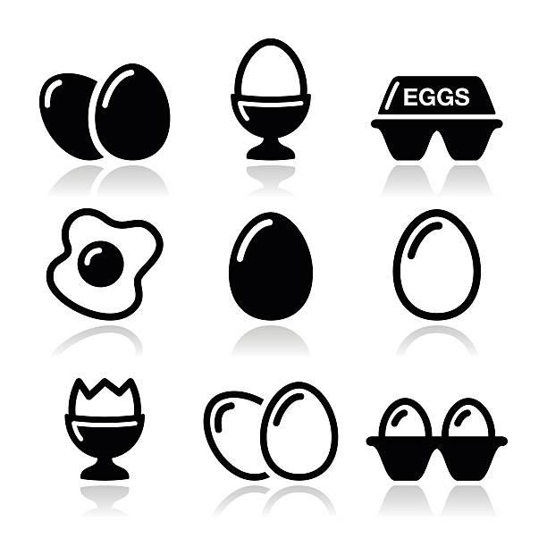 egg, fried egg, egg box icons set - egg stock illustrations, clip art, cartoons, & icons