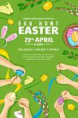 Egg hunt Easter poster, banner, flyer layout. Kids painting Easter eggs, vector illustration. Family holiday leisure.