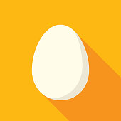 Vector illustration of an egg against a golden background in flat style.