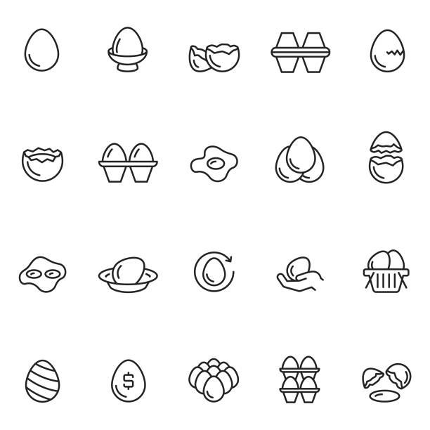 stockillustraties, clipart, cartoons en iconen met ei icon set - egg