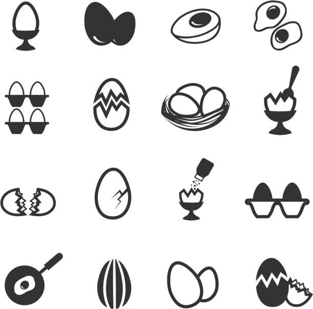egg icons set - spiegelei stock-grafiken, -clipart, -cartoons und -symbole