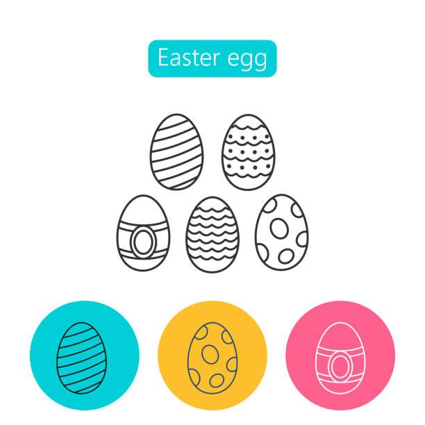 Ei-Icons mit Ornament für die Osterferien. – Vektorgrafik