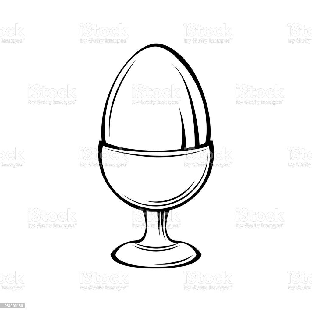 Egg in egg holder, egg-cup, egg stand. Vector illustration. vector art illustration