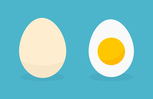 Egg in shell and boiled egg icons.