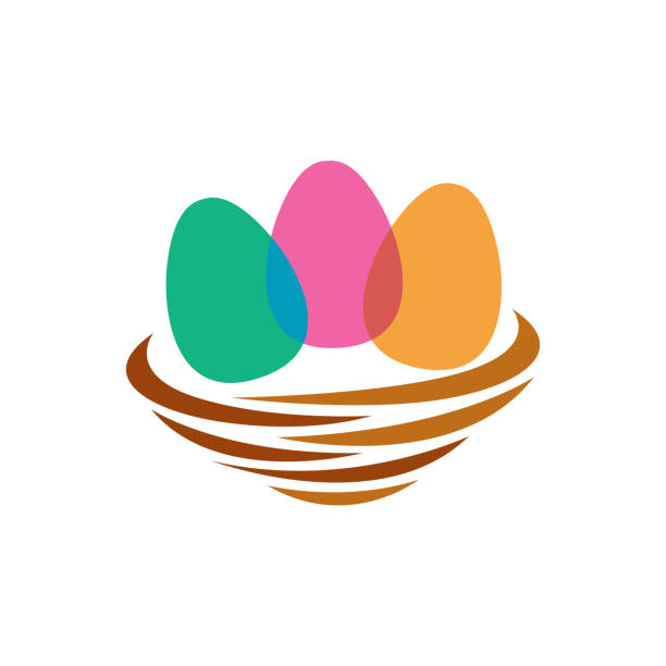 Egg Nest Template Design, Creative Symbol, Icon Egg Nest Template Design, Creative Symbol, Icon nest egg stock illustrations