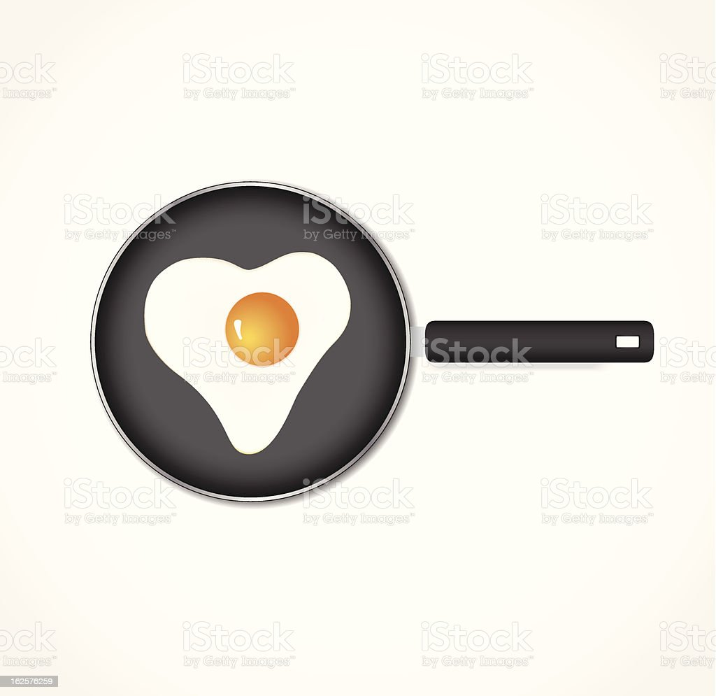 Egg on a pan in the form of heart royalty-free stock vector art