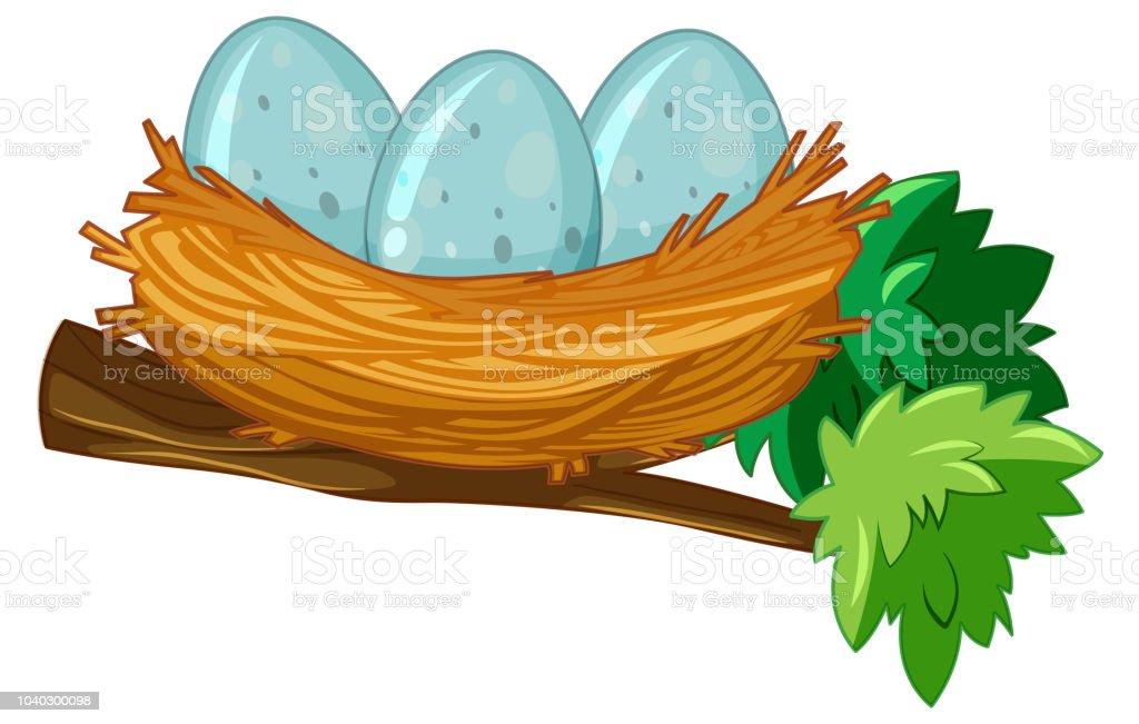 Egg on the nest vector art illustration