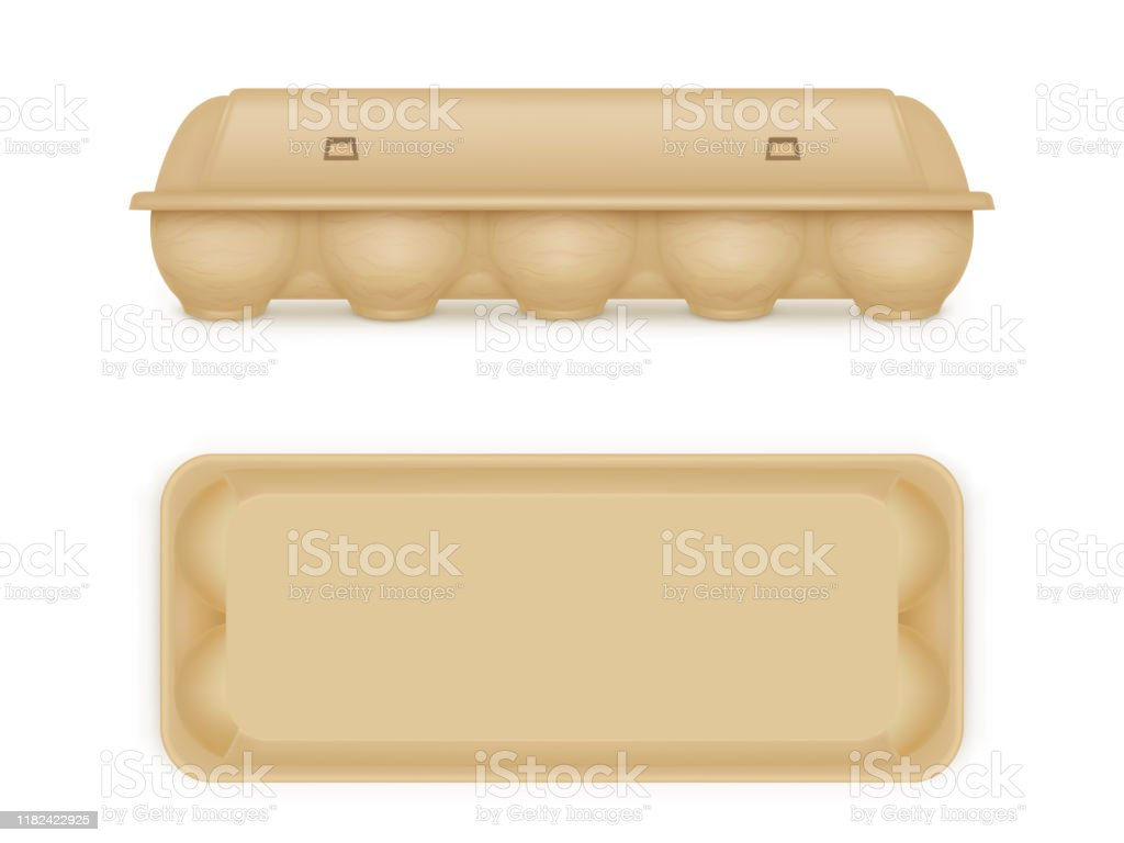 Egg Package Mock Up Blank Food Tray Box Container Stock